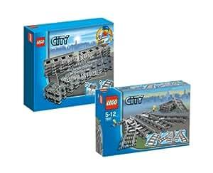 LEGO 7499 - 7895 City - Raíles flexibles y desvíos para trenes