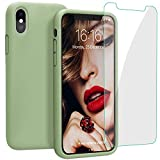 JASBON Case for iPhone Xs Max 6.5 inch (2018), Liquid Silicone Shockproof Cover with Free Screen Protector for Apple iPhone Xs Max 6.5'-Matcha Green
