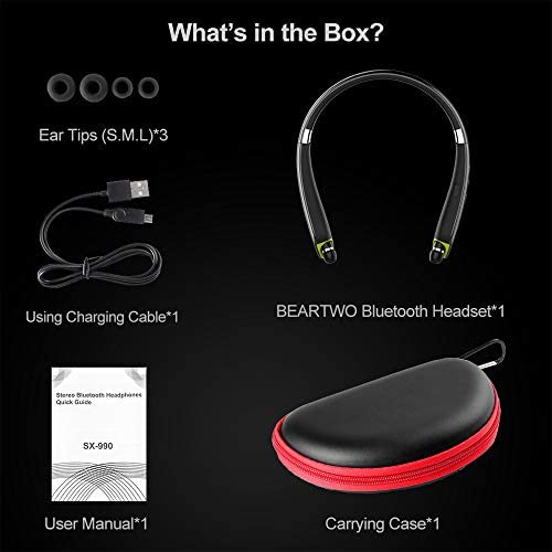 Bluetooth Headphones, BEARTWO Upgraded Foldable Wireless Neckband Headset with Retractable Earbuds, Noise Cancelling Stereo Earphones with Mic for Workout, Running, Driving (with Carry Case)