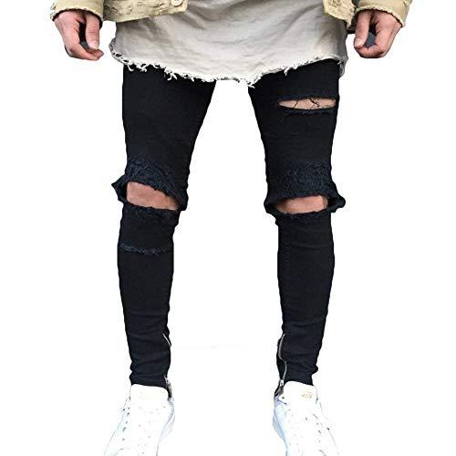 Denim Rt Giovane Elastic 5 38 Da Strech Slim Fori Pants Chern Jeans Pantaloni 28 Uomo Lochblack Colori Fit Skinny Comodo Per dF8OHw