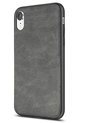 Salawat Compatible with iPhone Xr Case, Slim PU Leather Vintage Shockproof Phone Case Cover Lightweight Premium Soft TPU Bumper Hard PC Hybrid Protective Case for iPhone Xr 6.1inch 2018 (Gray)