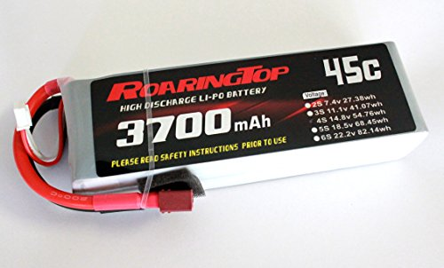 RoaringTop LiPo Battery Pack 45C 3700mAh 4S 14.8V with Deans Plug for RC Car Boat Truck Heli Airplane ()