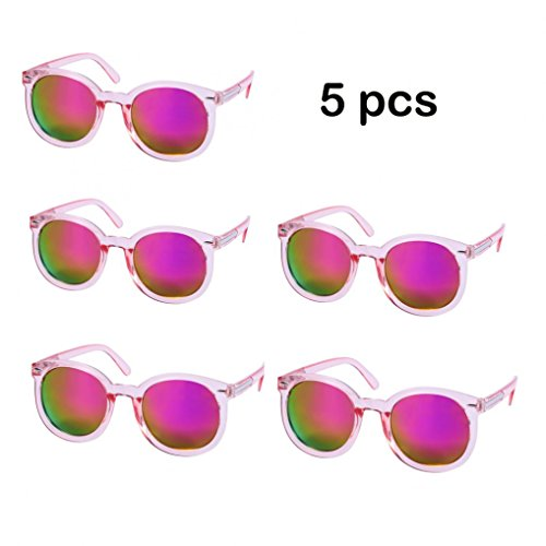 WODISON Womens UV400 Protected Classic Mirrored Lens Clear Frame Party Sunglasses in Bulk Lot 5 - Bulk Cheap Sunglasses