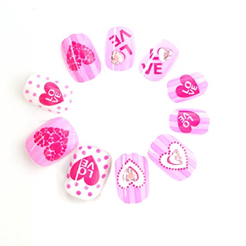 Cute Pink Red Cake Children Fake Nails 40 Pcs Pre-glue Press on Nail Tips Nail Enfants Spots ()