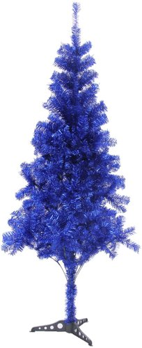 Blue Tinsel Christmas Tree - HB 6' Ft Sparking Gorgeous Folding Artificial Tinsel Christmas Tree Blue Color 450 TIPS- Unlit