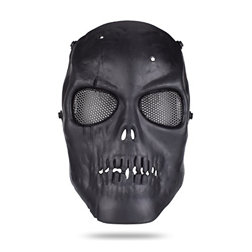Freehawk Skull Skeleton Full Face Tactical Airsoft Paintball Cosplay Mask with Metal Mesh Eye Protection For Airsoft/Paintball/CS/BB Gun/Survival Games/Masquerade/Halloween/Cosplay (Black) -
