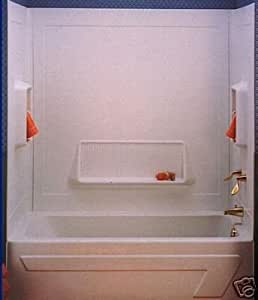 White Three Piece Bath Tub Bathtub Wall Surround Kit