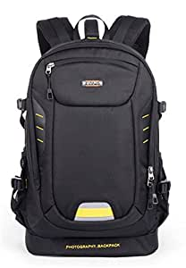 YAAGLE Oxford Large Waterproof Anti-shock DSLR Gadget Camera Bag Professional Photography Travel Backpack with Inner Padding and Extra Rain Cover for Canon Nikon Sony Olympus Black Orange Grey
