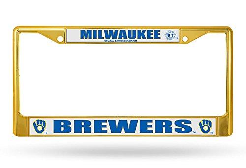 MLB Brewers Retro Chrome Frame, Secondary Gold, 15 x 8, Logo Color (Car Mlb Brewers Milwaukee)