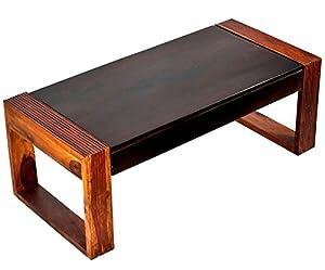 TimberTaste Nova Solid Wood Coffee Table (Teak and Walnut Finish)