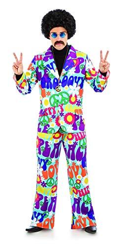 Mens 70s Groovy Hippie Costume Adults 60s Flower Power Hippy Suit - Medium ()