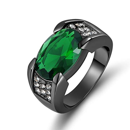 Huanhuan Black Gold Plated Eternity Band Ring Mens Green Emerald Cut Huge Oval CZ Promise Rings Size 10 for Him Gift