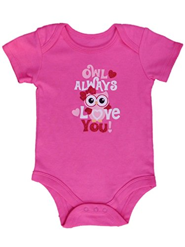 Assorted Love & Heart Boys & Girls Valentines Day Bodysuit Dress Up Outfit (12 Months, Owl Always Love You!)