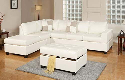 (Premium Bonded Leather White Modern Reversible Sectional Couch Set- Sofa Chaise with Ottoman)