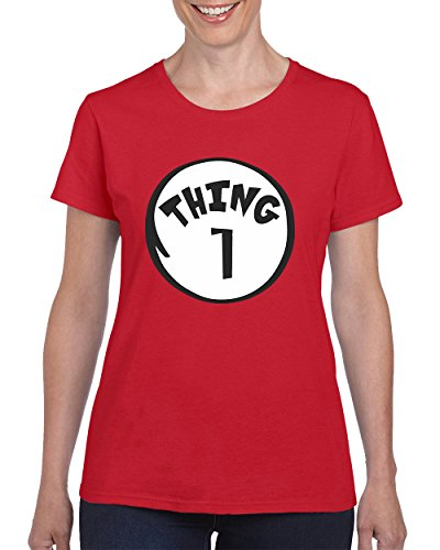 The Cat in the Hat Thing 1 Fashion T-shirt for Women Round Neck Tee Shirt(Red,Medium) (Cat In The Hat Thing 1)