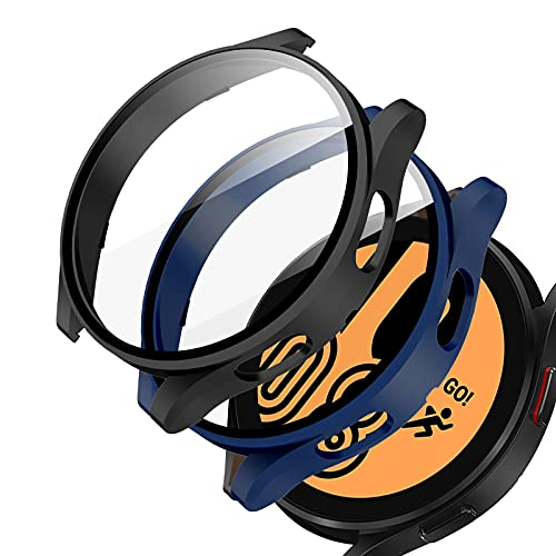 2 fundas protectoras para samsung watch 4 44 mm negro-azul