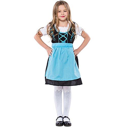 LOLANTA Children Blue Beer Girls Dirndl Costume Germen Bavarian Girls Dress (7-10) ()