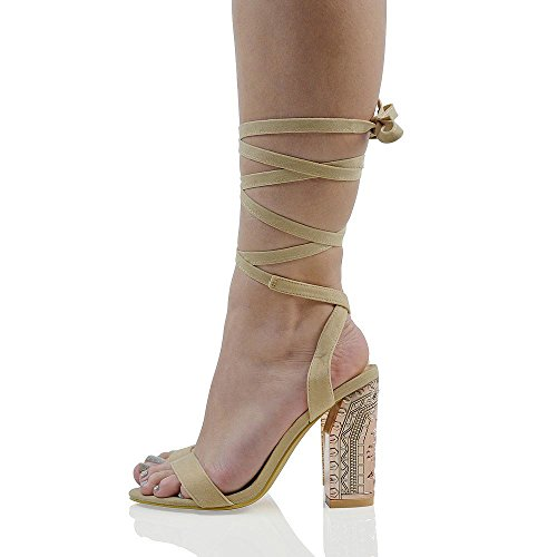 3803ac244c78d Essex Glam Lace Up Diamante Chrome Block Heel Faux Suede Lace Up Sandals
