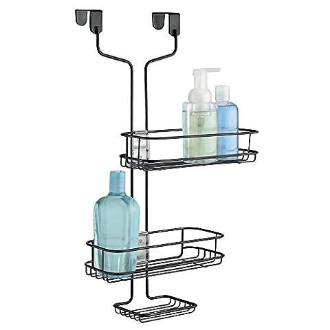 mDesign Adjustable Bathroom Over Door Shower Caddy