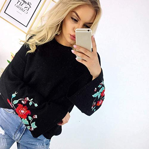 Femme Longues Manches Sweat Pullover Brod gCzqv