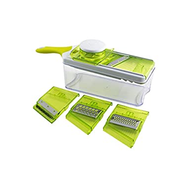 Mandoline Slicer Set, Cuts Fruits & Vegetables, Straight & Julienne, Grates Cheese, with 4 Adjustable Blades, Safety Holder , By Jobox
