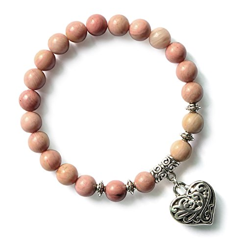 MHZ JEWELS Rhodochrosite Handmade Natural Gemstone Round Beads Bracelet Stretchy Pink Beaded Charm Bracelets
