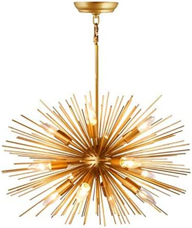 Decomust 24 Inch Astra Sputnik Satellite Rods Pendant Light Chandelier Plated Gold Ceiling Light Fixture