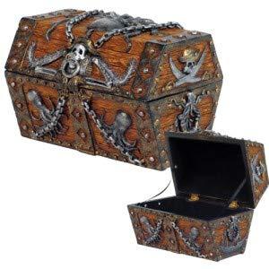 (Gift2Smile Caribbean Kraken Octopus Pirate Haunted Chained Skull Treasure Chest Box Jewelry Box Figurine 5