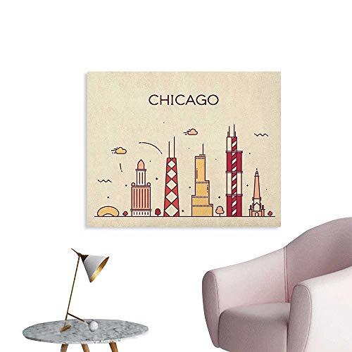 Anzhutwelve Chicago Skyline Wallpaper Hand Drawn Style American