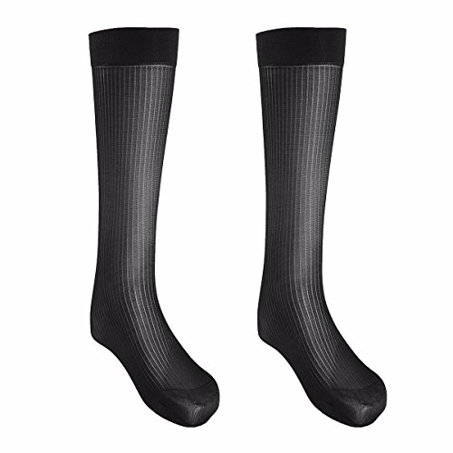 FEESHOW 2 Pairs Men's Summer Thin Silk Socks Over-the-Calf Business Dress Crew Socks Black one size