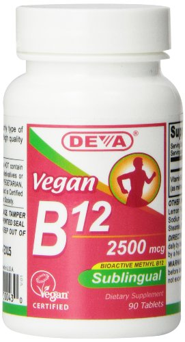 Deva Nutrition Vegan sublinguaux B-12 comprimés, 2500 mcg, 90 Count
