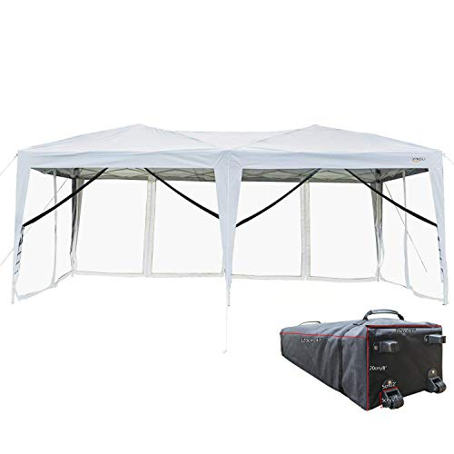 VINGLI 10' x 20' Pop Up Canopy Tent, Mesh Sidewalls Anti-Mosquito Screen Houses, Instant Setup Gazebos, 6 Translucent Sides Doors Sturdier Frame Anti-UV, Heavy Duty Wheeled Carrying Bag