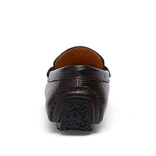 Miyoopark - Mocasines de Piel para hombre café