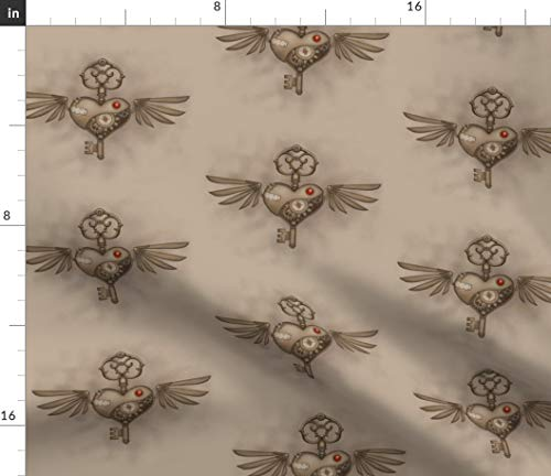 (Spoonflower Skeleton Key Fabric - Steampunk Heart Steampunk Valentine Hearts Urban Threads Embroidery Print on Fabric by The Yard - Organic Cotton Knit for Baby Blankets Clothing Apparel T-Shirts)