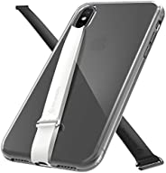 Sinjimoru iPhone Case with Two Phone Loops, Clear Hard Protective Phone Case for iPhone with Phone Grip (2Pack