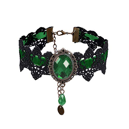 Eternity J. Retro Handmade Craft Lace Royal Court Vampire Choker Gothic Necklace Bracelet Black Pendant Chain (Green)