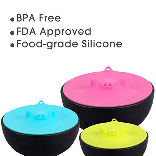 ME.FAN Silicone Cooking Pig Food Storage Suction Lids and Microwave Splatter Screen Plus Bowl Covers 3 Set Blue