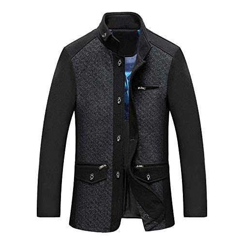 Blue Mid Huixin Coat Thickening Outwear Sleeve Fit Winter Apparel Collar Wool Long Fashion Slim Fur Vintage Gray Stand Men Winter Warm Men Age Coat and Jacket rx8Sqr