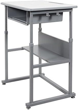 Offex M Student Manual Adjustable Desk-Light Medium Gray