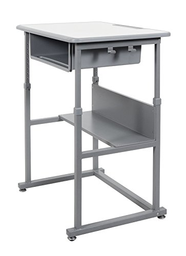 - Offex of-Student-M Manual Adjustable Student Desk - Light Gray/Medium Gray