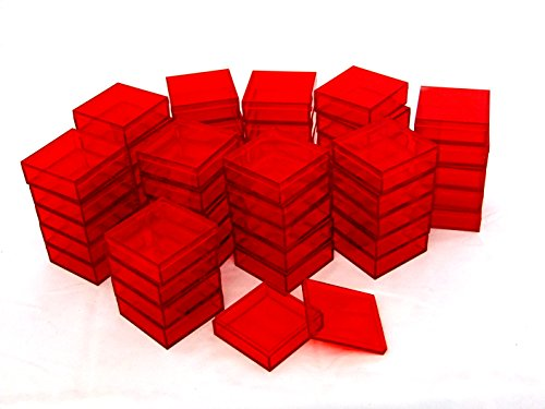 2 By 2 Inch Square Acrylic Bead/Gem Storage Boxes 50 QTY Red by AMAC