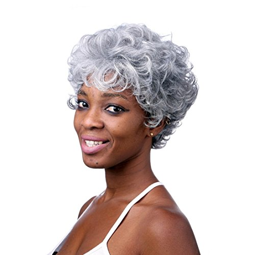 [A.Monamour Silver Gray Short Curly Senior Synthetic Fibre Heat Resistant Hair Full Wig for Women] (Curly Synthetic Hair)