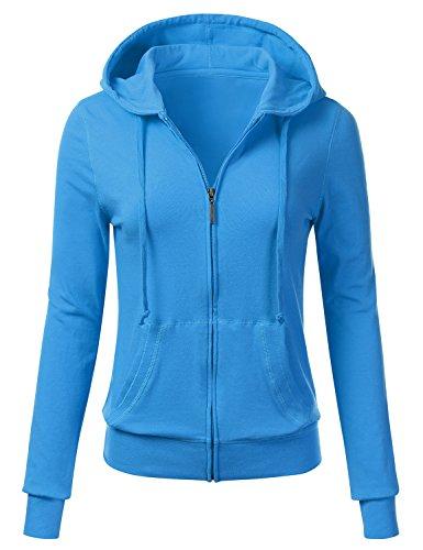 FLORIA Women Casual Basic Solid Knit Stretch Lightweight - Light Blue Jacket
