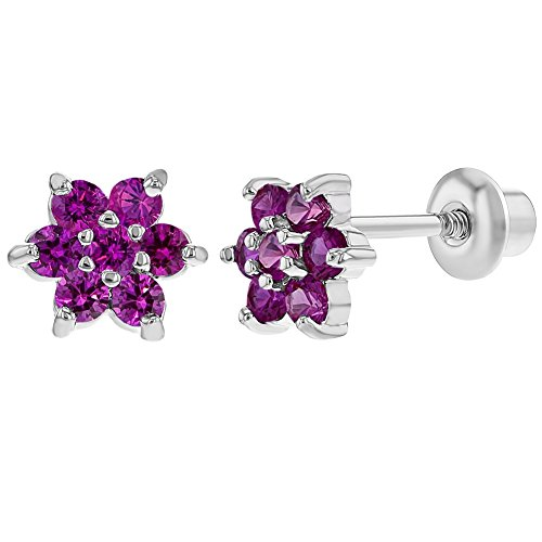 Rhodium Plated Flower Hot Pink Crystals Screw Back Baby Children Earrings