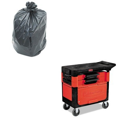 KITPNL519RCP618088BLA - Value Kit - Black Trades Cart w/Locking Cabinet, Includes 2 Parts Boxes and 4 Parts Bins (RCP618088BLA) and Penny Lane Linear Low Density Repro Can Liners (PNL519)