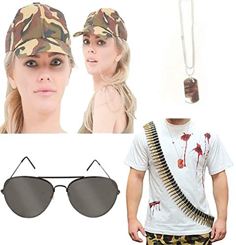My Choice Stuff Adults Fake 96 Bullet Belt Dog Tag Glasses and Camouflage Cap Hat Set Halloween Costume Accessory One Size Fits Most -