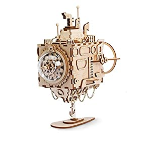 3D DIY Steam Punk Submarine Model with Music Box Wooden Building Toy
