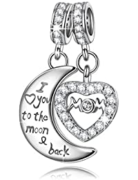 """925 Sterling Silver Charms as ♥Mothers Day Gifts♥ Engraved with """"Mom I Love You to the Moon and Back"""" Double Dangle Pendant Beads Great for Necklace"""