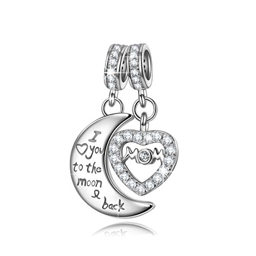 NINAQUEEN Mom I Love You To The Moon And Back 925 Sterling Silver pandöra charm for mommy mother in law Double Dangle Charms fit for Bracelet and Necklace