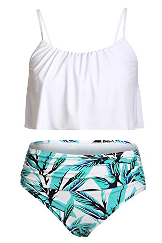 Byoauo Womens High Waist Bikini Swimsuits Two Piece Thin Shoulder Straps Plus Size Swimwear (M, White-BGL)
